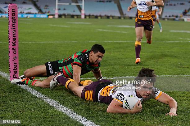 Lachlan Maranta of the Broncos scores a try during the round 19 NRL match between the South Sydney Rabbitohs and the Brisbane Broncos at ANZ Stadium...