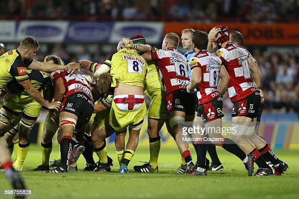 Lachlan McCaffrey of Leicester Tigers displays an unusual pair of pants during the Aviva Premiership game between Gloucester Rugby and Leicester...