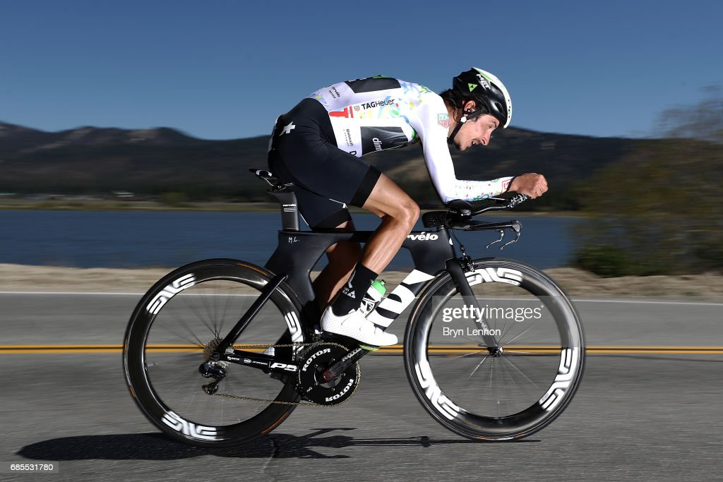 Lachlan Morton of Australia and Team Dimension Data in action during stage 6 of the AMGEN Tour of California, a 14.9 mile individual time trial around Big Bear Lake on May 19, 2017 in Big Bear Lake, California.