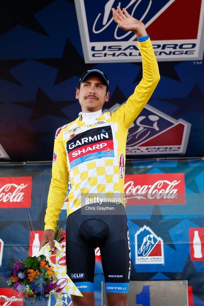 Lachlan Morton of Australia and Team Garmin-Sharp poses for a photo on the podium in the yellow Smashburger Leader's jersey following stage three of the USA Pro Cycling Challenge on August 21, 2013 in Steamboat Springs, Colorado.