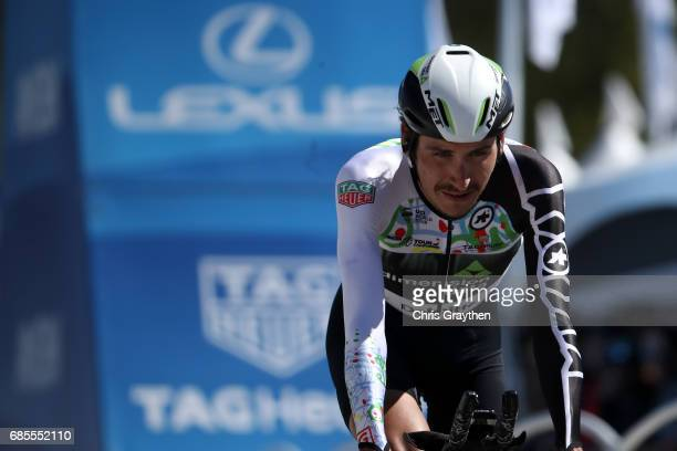 Lachlan Morton of Australia riding for Team Dimension Data finishes stage five of the AMGEN Tour of California from Ontario to Mt Baldy on May 18...