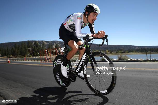 Lachlan Morton of Australia riding for Team Dimension Data rides during stage five of the AMGEN Tour of California from Ontario to Mt Baldy on May 18...