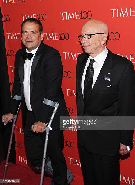 Lachlan Murdoch and Rupert Murdoch attend the 2015 Time 100 Gala at Frederick P Rose Hall Jazz at Lincoln Center on April 21 2015 in New York City
