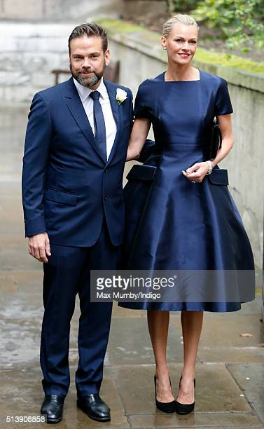 Lachlan Murdoch and wife Sarah Murdoch arrive at St Bride's Church for a service to celebrate his father Rupert Murdoch's marriage to Jerry Hall on...
