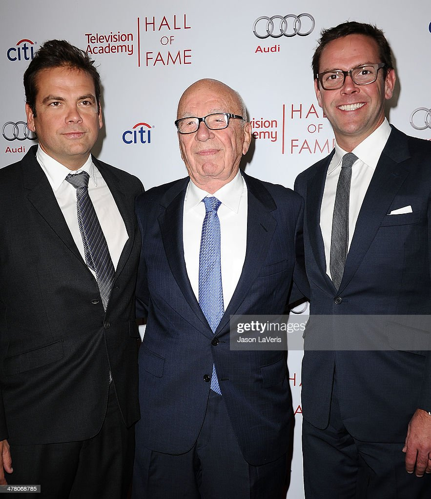 <a gi-track='captionPersonalityLinkClicked' href=/galleries/search?phrase=Lachlan+Murdoch&family=editorial&specificpeople=208665 ng-click='$event.stopPropagation()'>Lachlan Murdoch</a>, <a gi-track='captionPersonalityLinkClicked' href=/galleries/search?phrase=Rupert+Murdoch&family=editorial&specificpeople=160571 ng-click='$event.stopPropagation()'>Rupert Murdoch</a> and <a gi-track='captionPersonalityLinkClicked' href=/galleries/search?phrase=James+Murdoch&family=editorial&specificpeople=885921 ng-click='$event.stopPropagation()'>James Murdoch</a> attend the Television Academy's 23rd Hall of Fame induction gala at Regent Beverly Wilshire Hotel on March 11, 2014 in Beverly Hills, California.