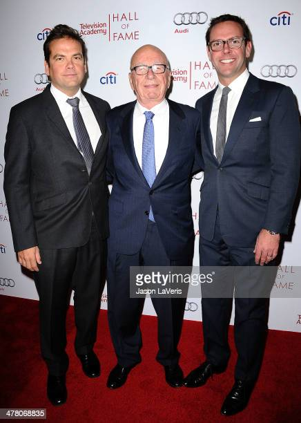 Lachlan Murdoch Rupert Murdoch and James Murdoch attend the Television Academy's 23rd Hall of Fame induction gala at Regent Beverly Wilshire Hotel on...