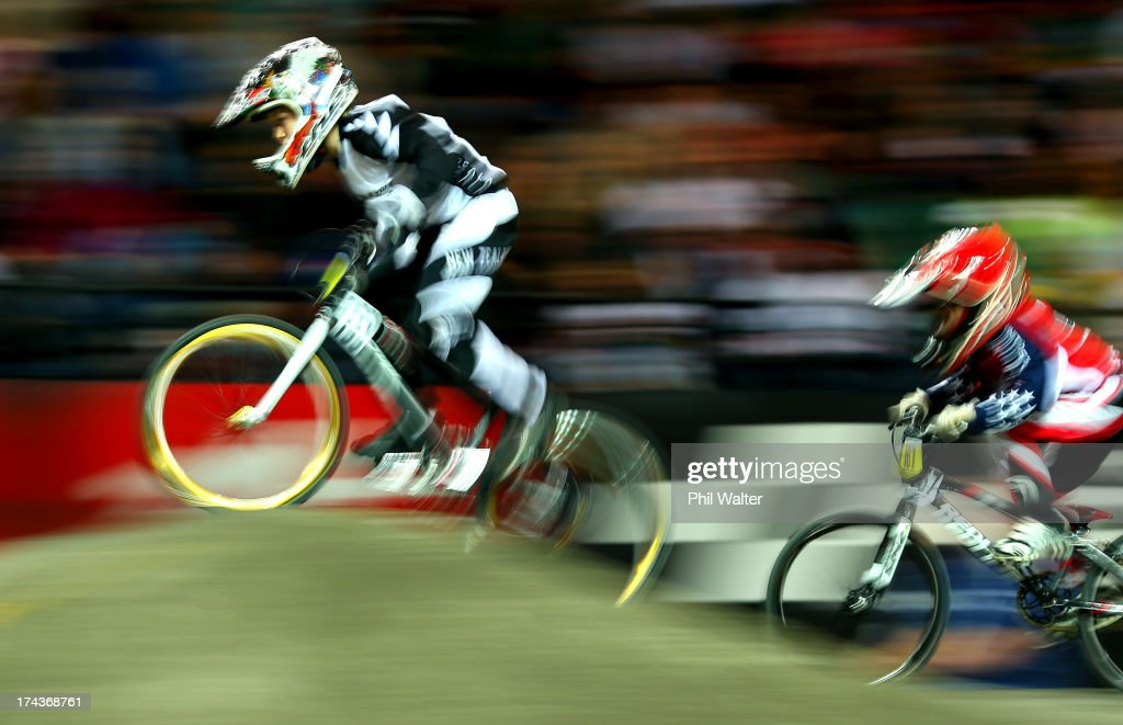 Lachlan Nikolajenko of New Zealand competes in the 8yr old boys during day two of the UCI BMX World Championships at Vector Arena on July 25, 2013 in Auckland, New Zealand.
