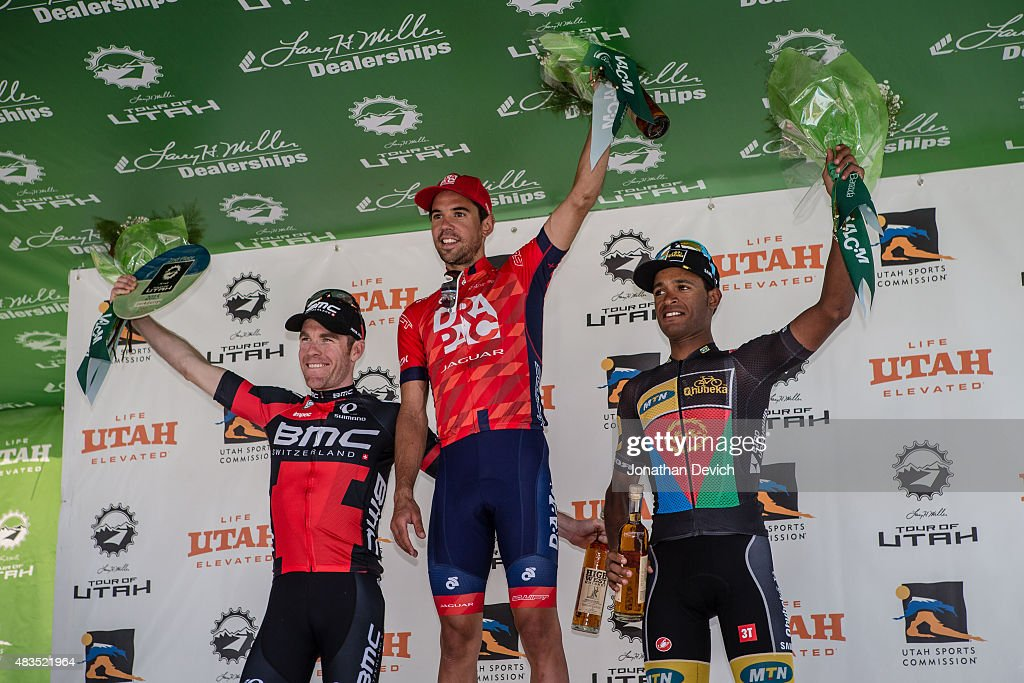 Lachlan Norris of the Drapac Professional Cycling Team in first place on the podium with Brent Bookwalter of the BMC Pro Racing Team in second place and Natnael Berhane of the MTN-Qhubeka team in third place on stage 7 of The Tour of Utah on August 9, 2015 in Park City, Utah.