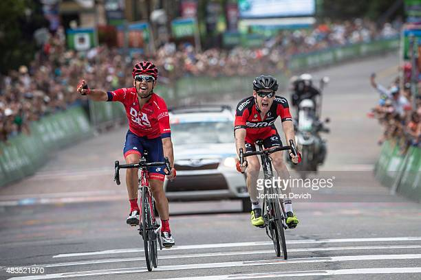 Lachlan Norris of the Drapac Professional Cycling Team wins with Brent Bookwalter of the BMC Racing Team in second place for stage 7 of The Tour of...