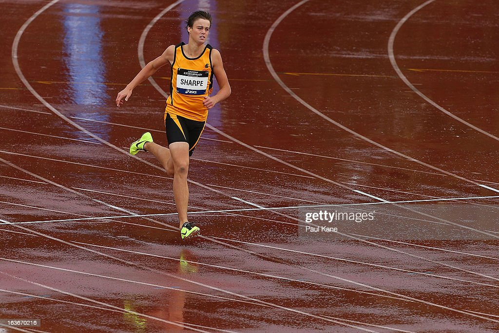 Lachlan Sharpe of Western Australia competes in the men's u15 400 metre heat during day three of the Australian Junior Championships at the WA Athletics Stadium on March 14, 2013 in Perth, Australia.
