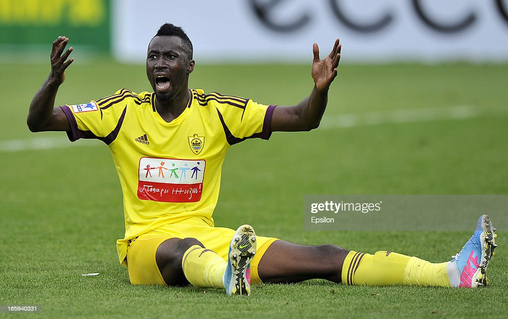 Lacina Traoré of FC Anzhi Makhachkala reacts during the Russian Premier League match between FC Anzhi Makhachkala and FC Alania Vladikavkaz at the Anzhi Arena Stadium on April 07, 2013 in Kaspiysk, Russia.