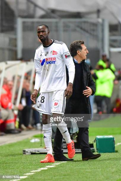 Lacina Traore of Amiens is unhappy at being substituted by Amiens coach Christopher Pelissier during the rescheduled Ligue 1 match between Amiens SC...