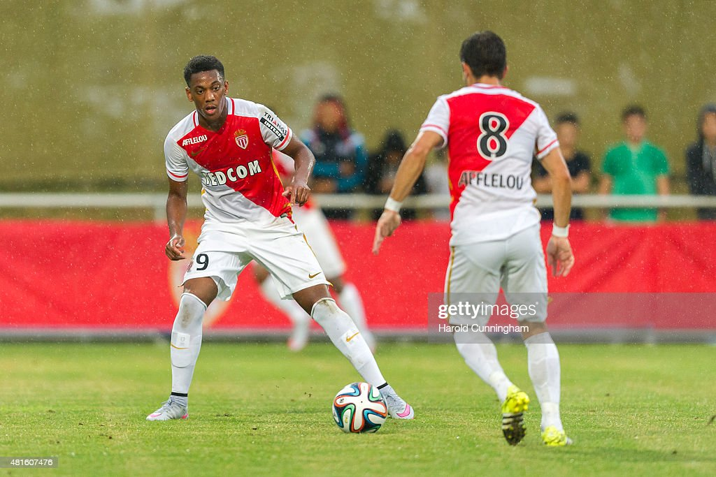 <a gi-track='captionPersonalityLinkClicked' href=/galleries/search?phrase=Lacina+Traore&family=editorial&specificpeople=6515667 ng-click='$event.stopPropagation()'>Lacina Traore</a> of AS Monaco in action during the pre-season friendly match between 1. FSV Mainz 05 and AS Monaco at Stade des Arberes on July 22, 2015 in Meyrin, Switzerland.