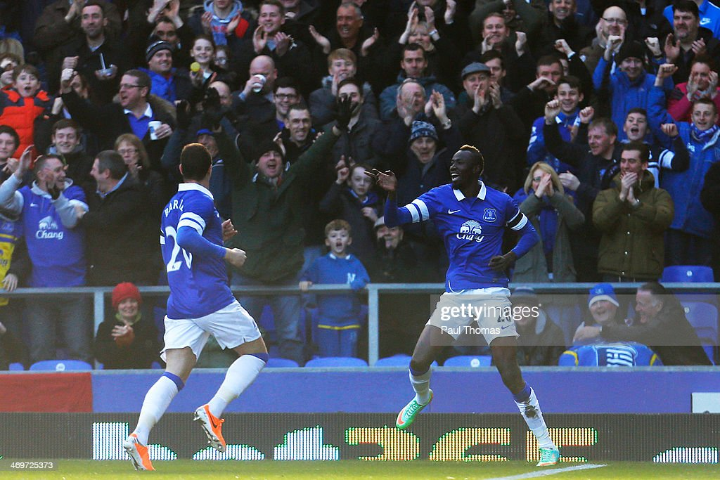<a gi-track='captionPersonalityLinkClicked' href=/galleries/search?phrase=Lacina+Traore&family=editorial&specificpeople=6515667 ng-click='$event.stopPropagation()'>Lacina Traore</a> of Everton celebrates his goal during the FA Cup Fifth Round match between Everton and Swansea City at Goodison Park on February 16, 2014 in Liverpool, England.