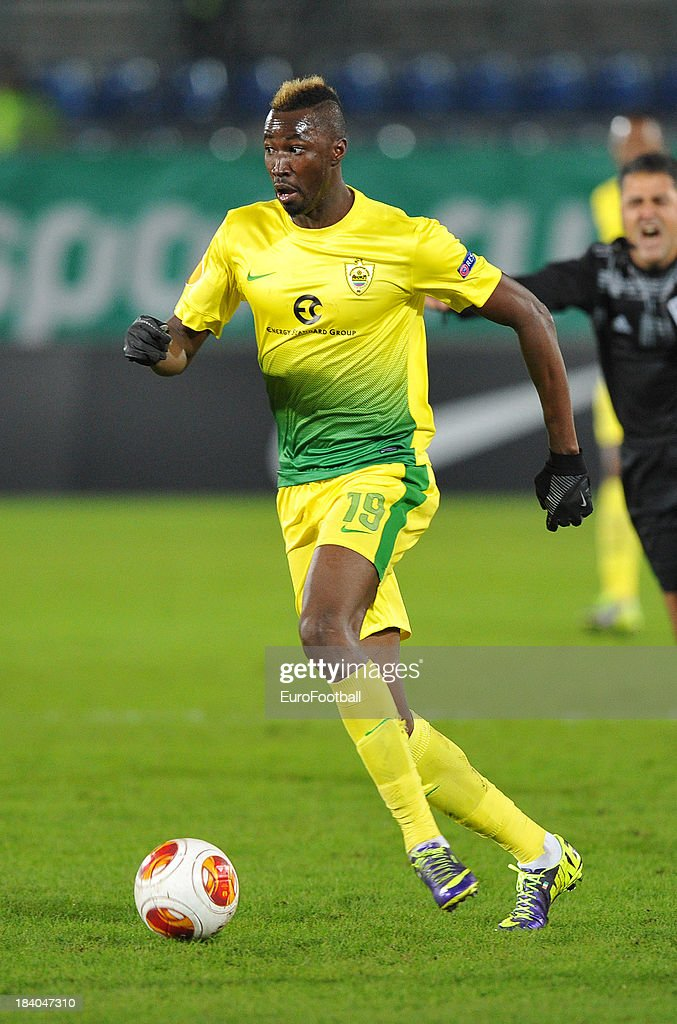 <a gi-track='captionPersonalityLinkClicked' href=/galleries/search?phrase=Lacina+Traore&family=editorial&specificpeople=6515667 ng-click='$event.stopPropagation()'>Lacina Traore</a> of FC Anji Makhachkala in action during the UEFA Europa League group stage match between FC Anji Makhachkala and Tottenham Hotspur FC held on October 3, 2013 at the Saturn Stadium, in Ramenskoye, Russia.