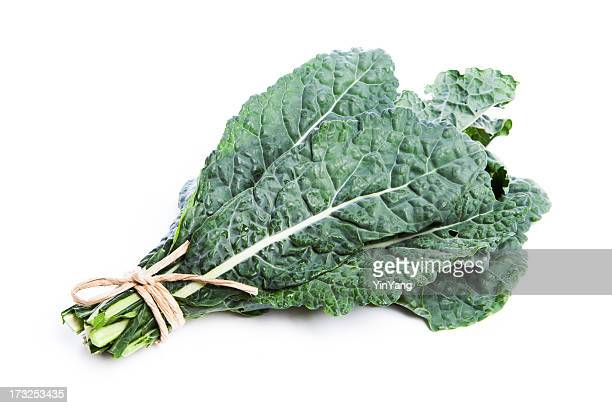 Lacinato Kale, Raw Green Vegetable Tied Bunch, Isolated on White