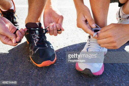 Lacing up before the run