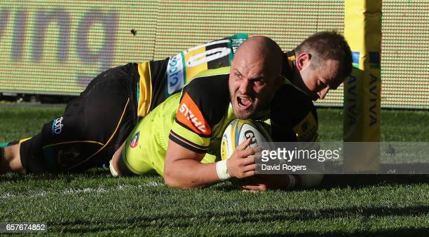 Laclan McCaffrey of Leicester dives over for a late try during the Aviva Premiership match between Northampton Saints and Leicester Tigers at...