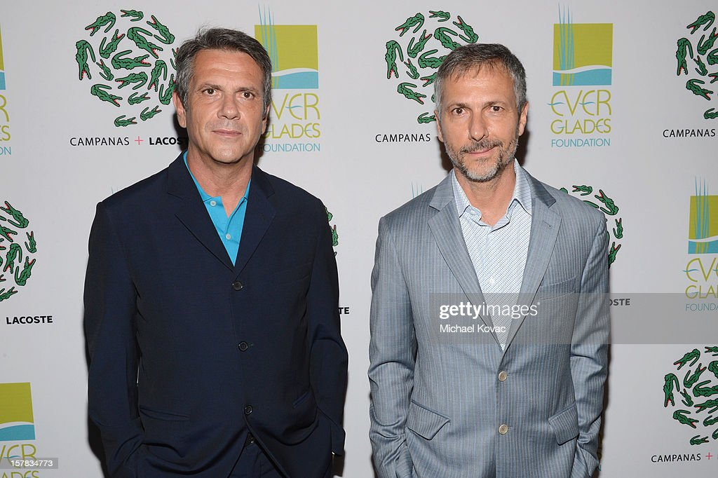 Lacoste designers Fernando Campana (L) and Humberto Campana attend a LACOSTE + CAMPANAS Celebration during Art Basel Miami Beach at Soho Beach House on December 6, 2012 in Miami Beach, Florida.