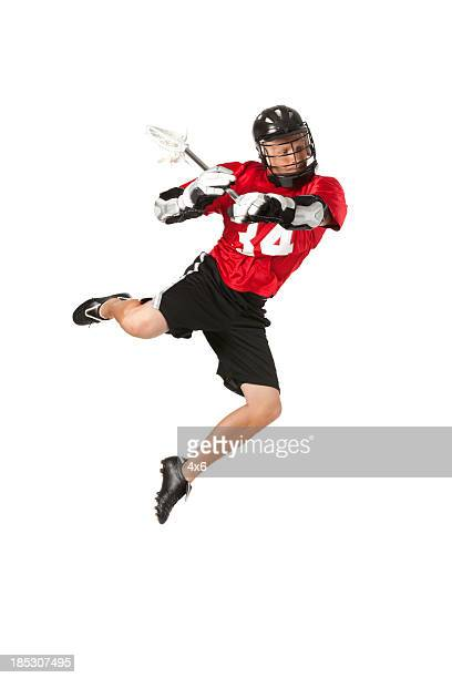 Lacrosse player in action