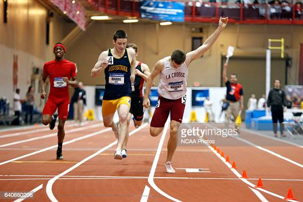 LaCrosse's Aric Hoeschen leans at the finish to narrowly defeat Augustana's Alex Rindone in the 400m Dash at the Division III Men's and Women's...