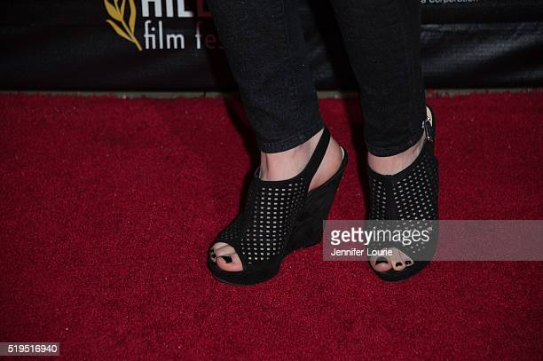 Lacy Marie Meyer shoe detail arrives at the opening night premiere of the Beverly Hills Film Festival featuring 'The Lennon Report' and 'Baby Baby...