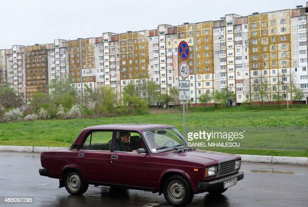 A 'Lada' car a brand well known during the communist era of former URSS drives in Tiraspol the main city of Transdniestr separatist republic of...