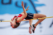 Lada Pejchalova from Czech Republic competes in women's high jump during the IAAF World U20 Championships at the Zawisza Stadium on July 24 2016 in...
