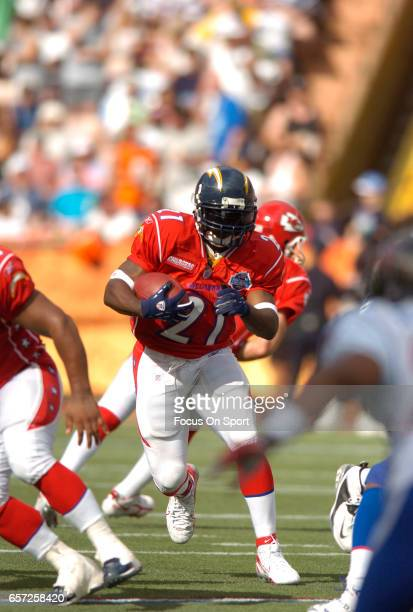 LaDainian Tomlinson of the AFC carries the ball against the NFC during the NFL Pro Bowl Game February 12 2006 at Aloha Stadium in Honolulu Hawaii The...