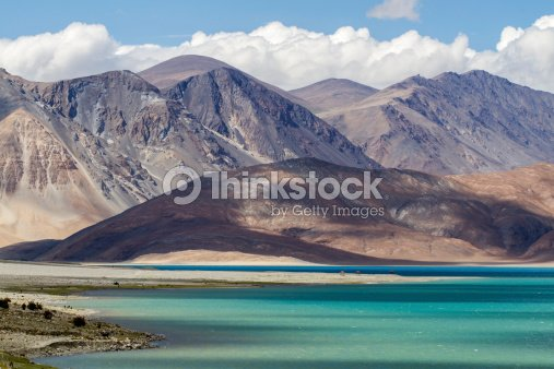 Ladakh landscape on lake pangong, India : Stock Photo