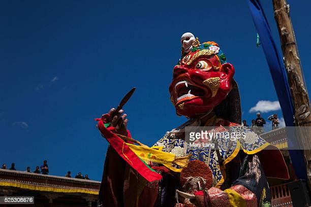Ladakhi monk dressed in folkloric costume with a scary Drukpa guardian mask is dancing at the annual Tsechu festival in Hemis gompa Ladakh Jammu and...