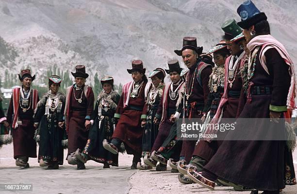 Ladakhi people dancing in an annual festival in the Kargil District