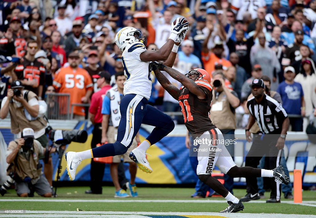 <a gi-track='captionPersonalityLinkClicked' href=/galleries/search?phrase=Ladarius+Green&family=editorial&specificpeople=8748887 ng-click='$event.stopPropagation()'>Ladarius Green</a> #89 of the San Diego Chargers catches a touchdown pass over <a gi-track='captionPersonalityLinkClicked' href=/galleries/search?phrase=Donte+Whitner&family=editorial&specificpeople=649027 ng-click='$event.stopPropagation()'>Donte Whitner</a> #31 of the Cleveland Browns and during their NFL Game on October 4, 2015 in San Diego, California.