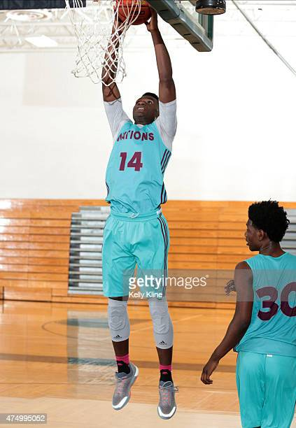 LaDarius Marshall goes up for the dunk during Adidas Nations Houston on May 17 2015 at Pasadena High School in Pasadena Texas