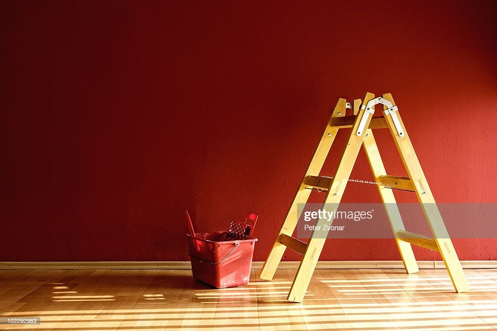 Ladder and red bucket : Stock Photo