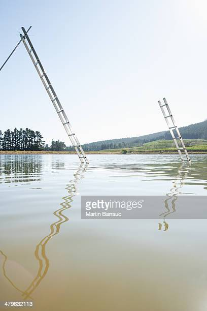 Ladder emerging from water