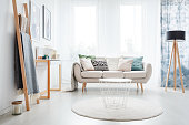 White round carpet in bright living room with lamp and ladder near sofa with pillows