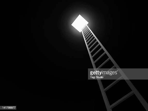 Ladder leading to the exit, black background