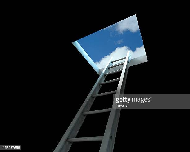 Ladder leading to the open sky