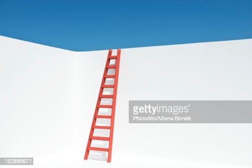 Ladder leaning against wall