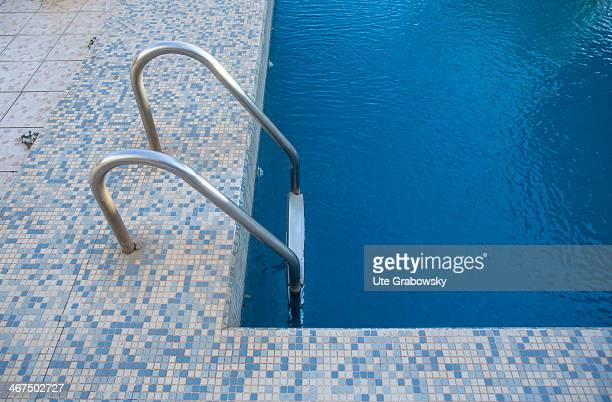 Ladder of a swimming pool on December 04 in Niamey Niger The photo symbolizes Holidays and leisure time Photo by Ute Grabowsky/Photothek via Getty...