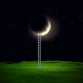 Conceptual image with ladder leading to white moon over background. Elements of this image furnished by NASA
