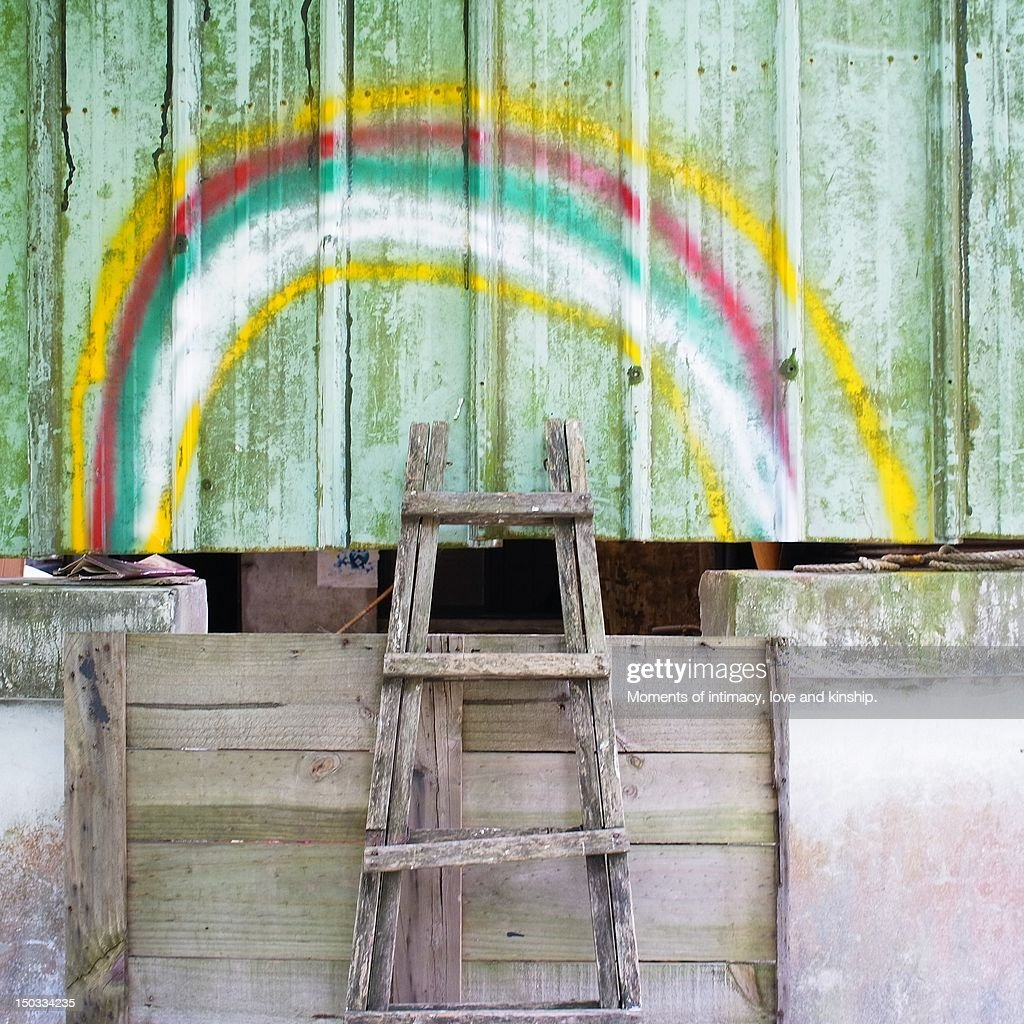 Ladder to climb up high to rainbow : Stock Photo