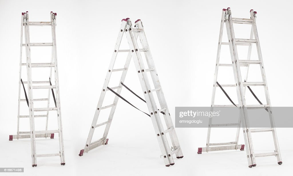Ladder with different angles on white background. : Stock Photo