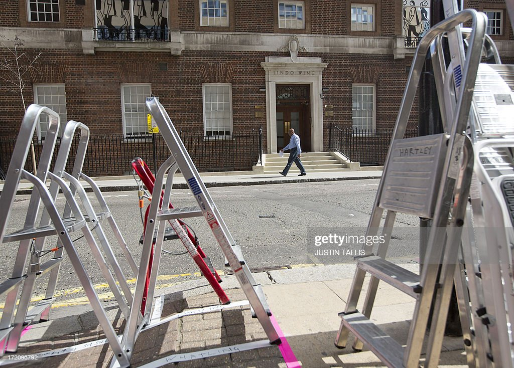 Ladders and tripods are set up outside The Lindo Wing of Saint Mary's Hospital in Paddington, west London on July 1, 2013. Prince William and his wife Catherine's baby, which will be third in line to the throne, will be born in the private Lindo wing of St Mary's Hospital, where William was born in 1982 and his brother Harry in 1984.