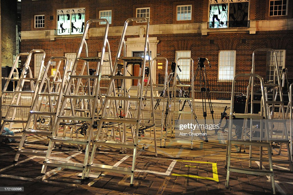 Ladders at the ready as the world's press gather for the arrival of the Duke and Duchess of Cambridge's baby on July 1, 2013 in London, England.