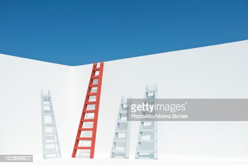 Ladders leaning against wall