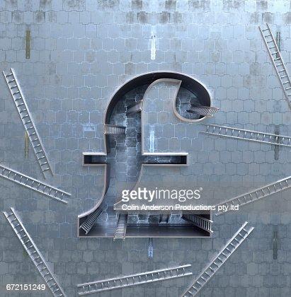 Ladders scattered around three-dimensional British pound symbol