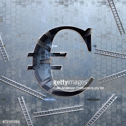 Ladders scattered around three-dimensional euro symbol