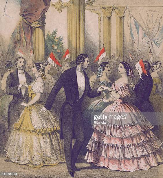 Ladies and gentlemen bearing small Polish pennants during a Grand Polish Ball at the Guildhall in London circa 1848 Polish composer and pianist...